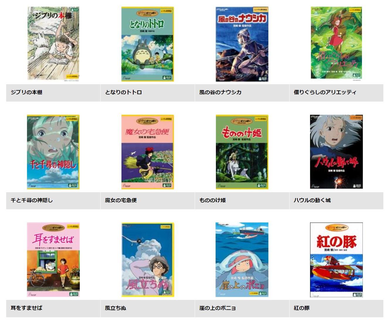 TSUTAYA DISCAS/TSUTAYA TVのジブリ作品